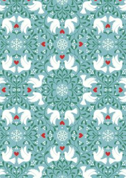Lewis and Irene -  Hygge Glow - Scandi Dove on Icy Blue  -Glow in the Dark