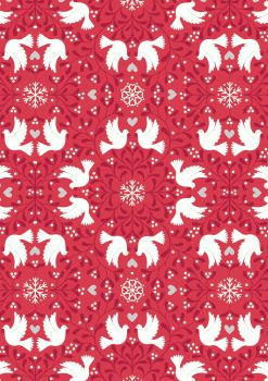 Lewis and Irene -  Hygge Glow - Scandi Dove on Red  -Glow in the Dark