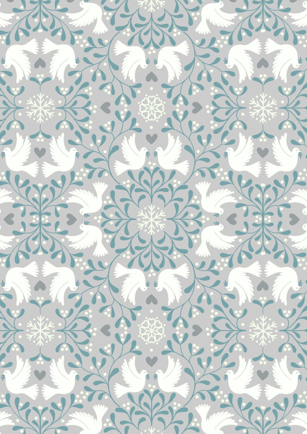 Lewis and Irene -  Hygge Glow - Scandi Dove on Silver  -Glow in the Dark