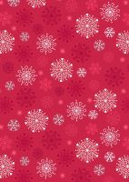 Lewis and Irene -  Hygge Glow - Snowflakes on Red - Glow in the Dark