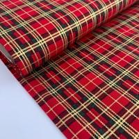 Rose and Hubble Fabrics - 100% Cotton Poplin Metallic Tartan Red