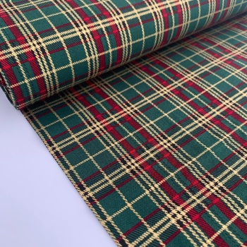 Rose and Hubble Fabrics - 100% Cotton Poplin Metallic Tartan Green