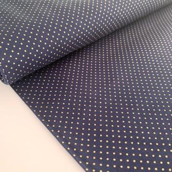 Rose and Hubble Fabrics - 100% Cotton Poplin Mini Metallic Dots Navy