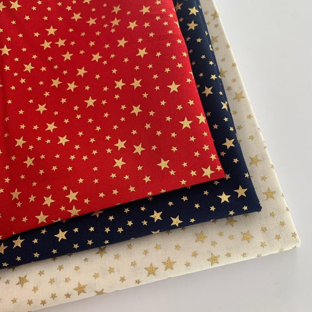 Rose and Hubble - Mini Metallic Stars  - Felt Backed Fabric