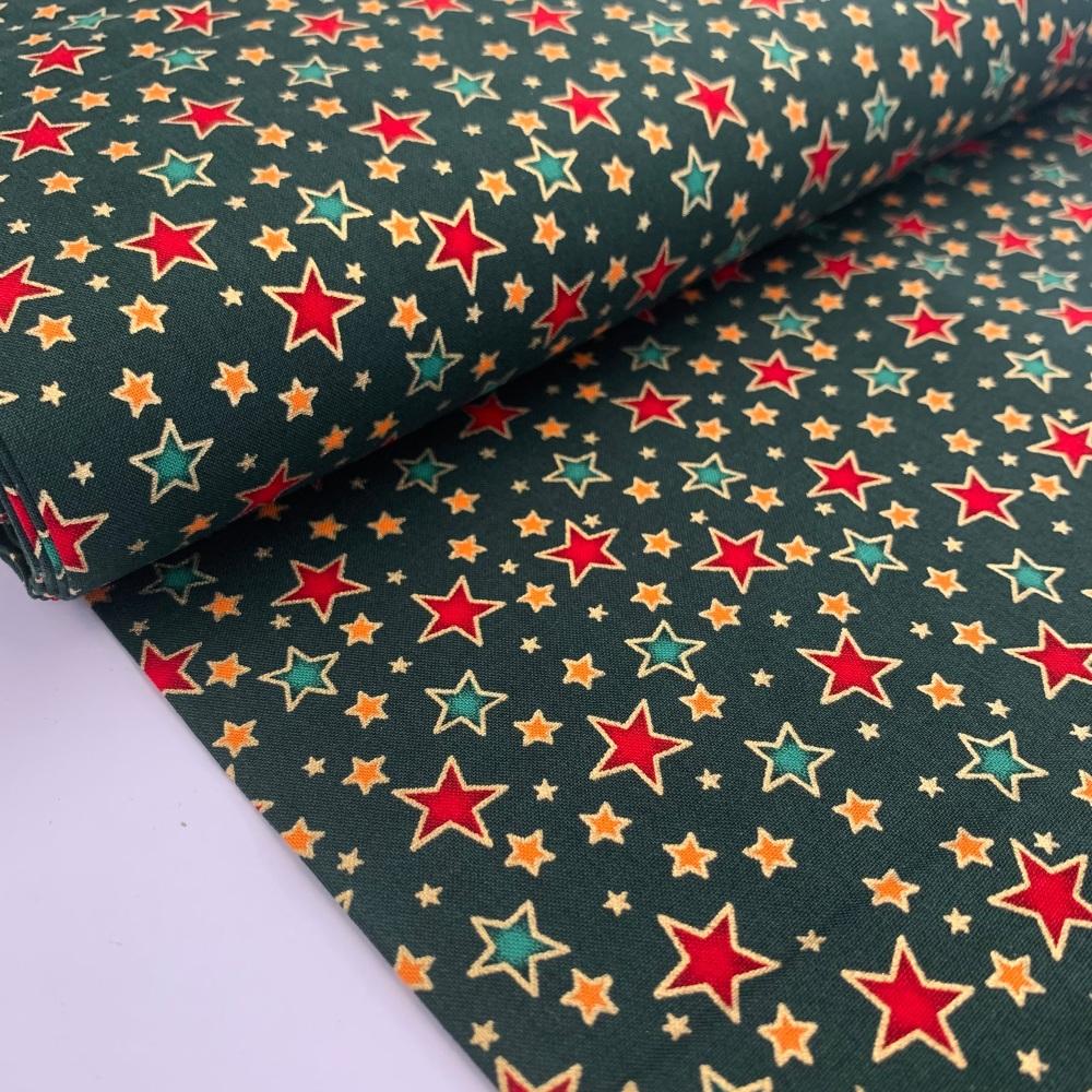 Rose and Hubble Fabrics - 100% Cotton Poplin Metallic Stars Green