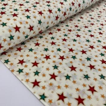Rose and Hubble Fabrics - 100% Cotton Poplin Metallic Stars Cream