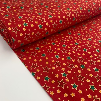 Rose and Hubble Fabrics - 100% Cotton Poplin Metallic Stars Red