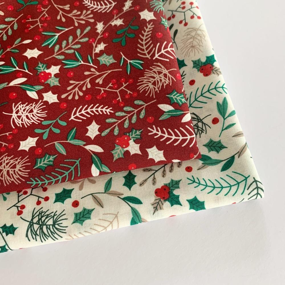 Rose and Hubble - Festive Foliage  - Felt Backed Fabric