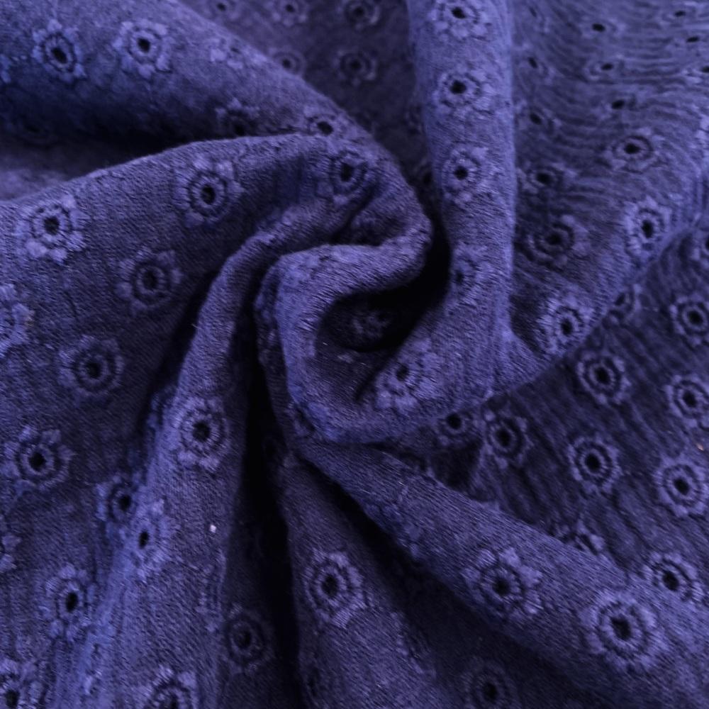 Daisy Embroidery Double Gauze - Navy