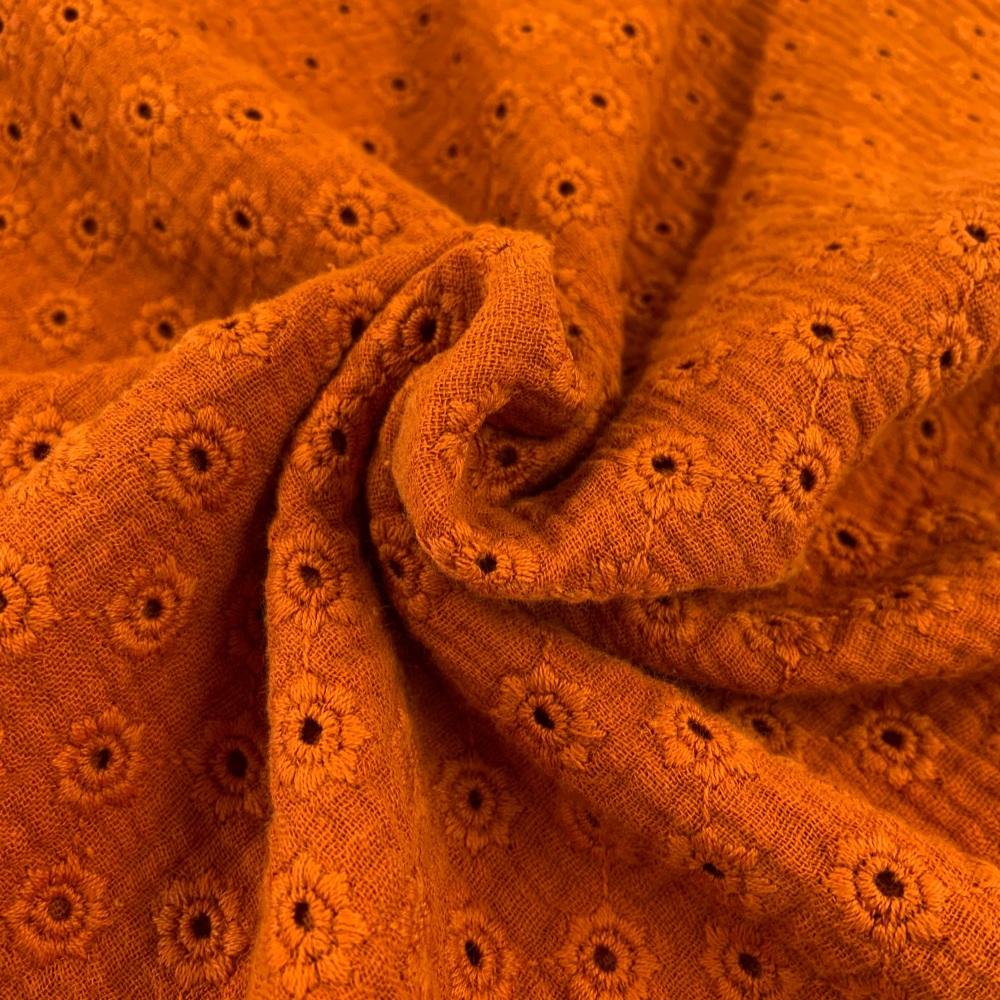 Daisy Embroidery Double Gauze - Rust