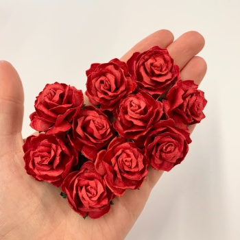 Mulberry Paper Flowers - Wild Roses 30mm  - Red