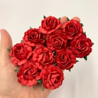 Mulberry Paper Flowers - Tea Roses 40mm  - Red
