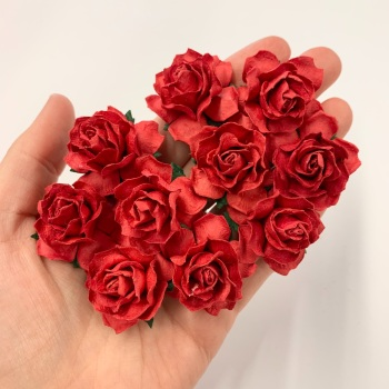 Mulberry Paper Flowers - Cottage Roses 30mm  - Red