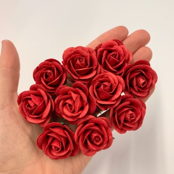 Mulberry Paper Flowers - Chelsea Roses 35mm  - Red