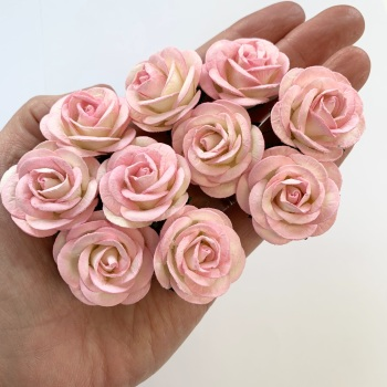 Mulberry Paper Flowers - Chelsea Roses 35mm  - Two Tone Baby Pink and Ivory