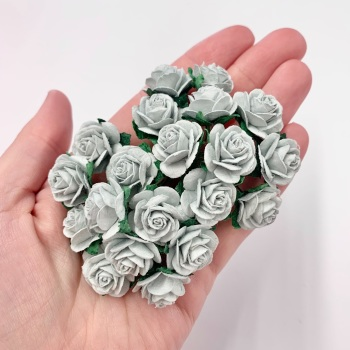 Mulberry Paper Open Roses - Shell Grey 10mm 15mm 20mm