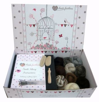 Boxed Needle Felting Kit - Natural Wool, Handle, Finger Guards and Glass eyes