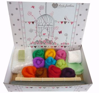 Wet Felting Starter Kit - Bright Merino Colours