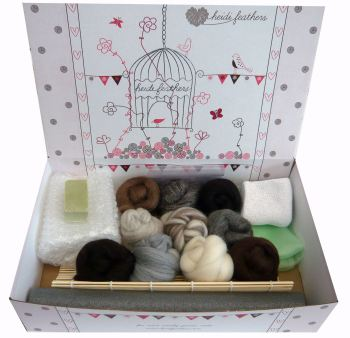 Wet Felting Starter Kit - Natural Wool