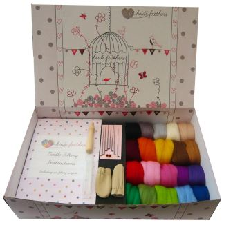 Boxed Needle Felting Starter Kit - '20 Merino Colours'