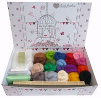 Premium Boxed WET FELTING Kit - 20 Merino Wool Colours