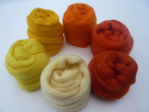 Yellow and Orange Shades Pack - Merino Wool Tops