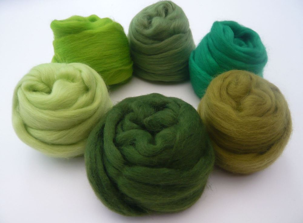 Green Shades Packs - Merino Wool Tops