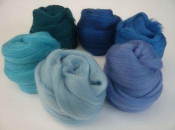 'Brilliant Blues' - Merino Wool Tops Shades