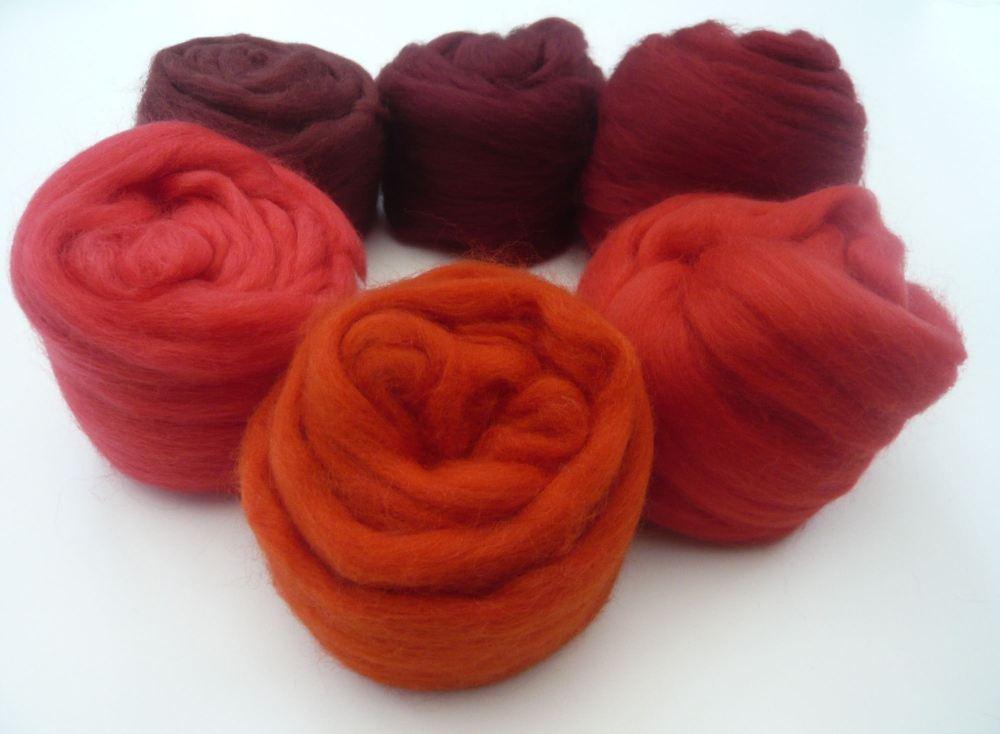 Red Shades Packs - Merino Wool Tops