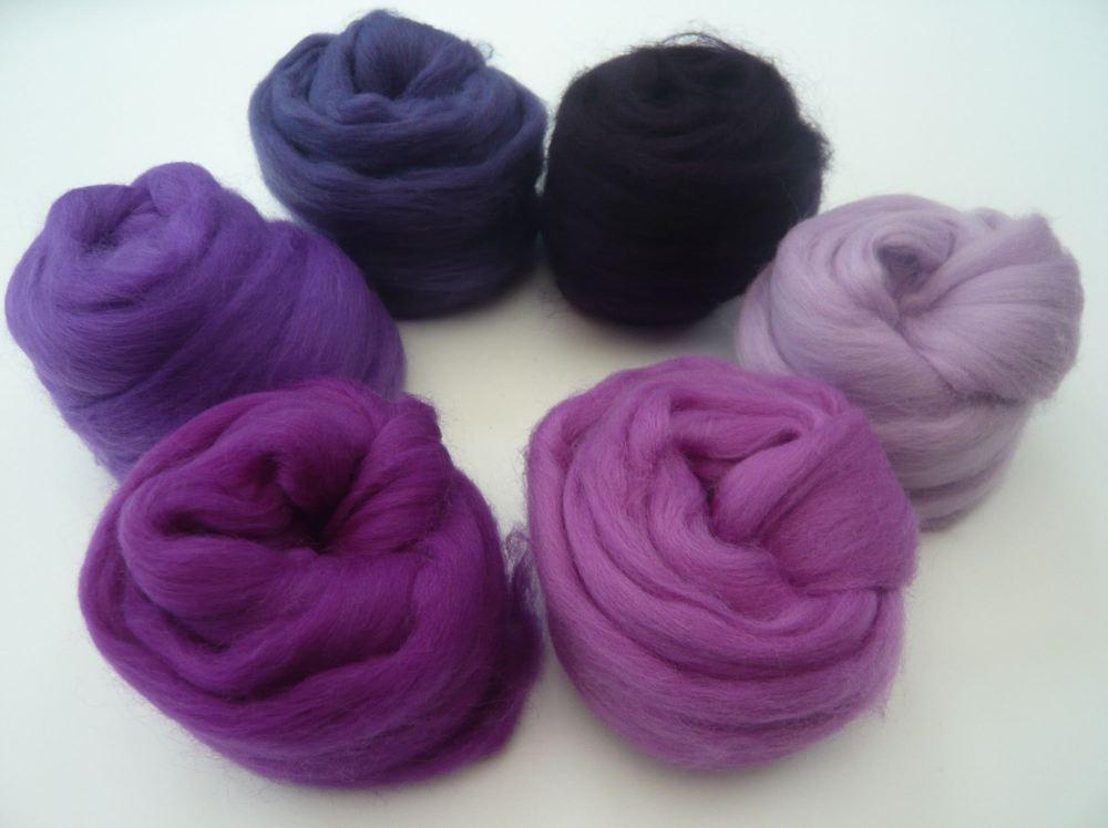 Purple Shades Packs - Merino Wool Tops