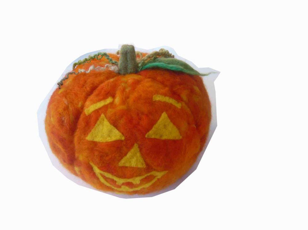 needle felted pumkin halloween