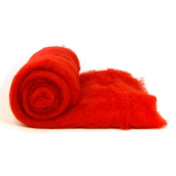 Dyed Wool Batt Red