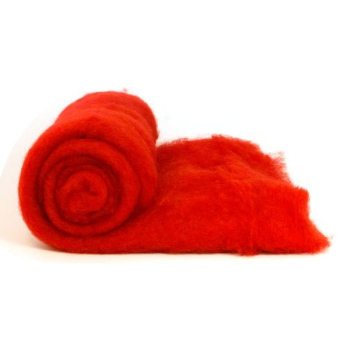Dyed Wool Batt Red