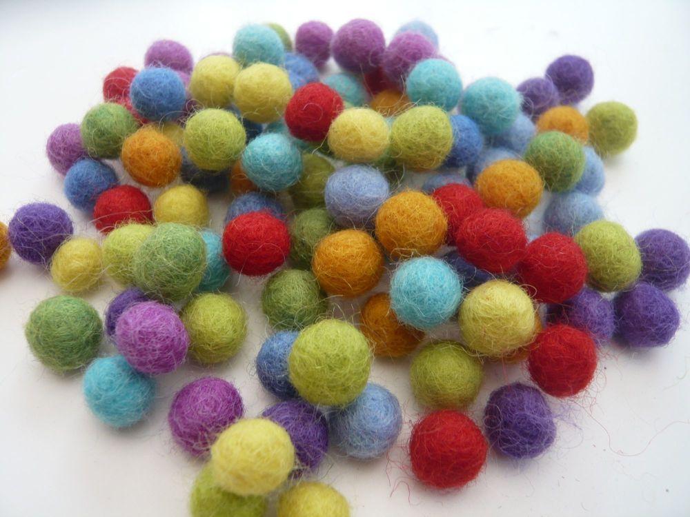 Handmade Felt Balls - 1cm Bright Colours