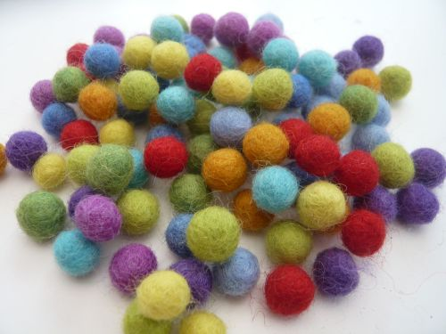 Handmade Felt Balls - 1cm Bright Colours