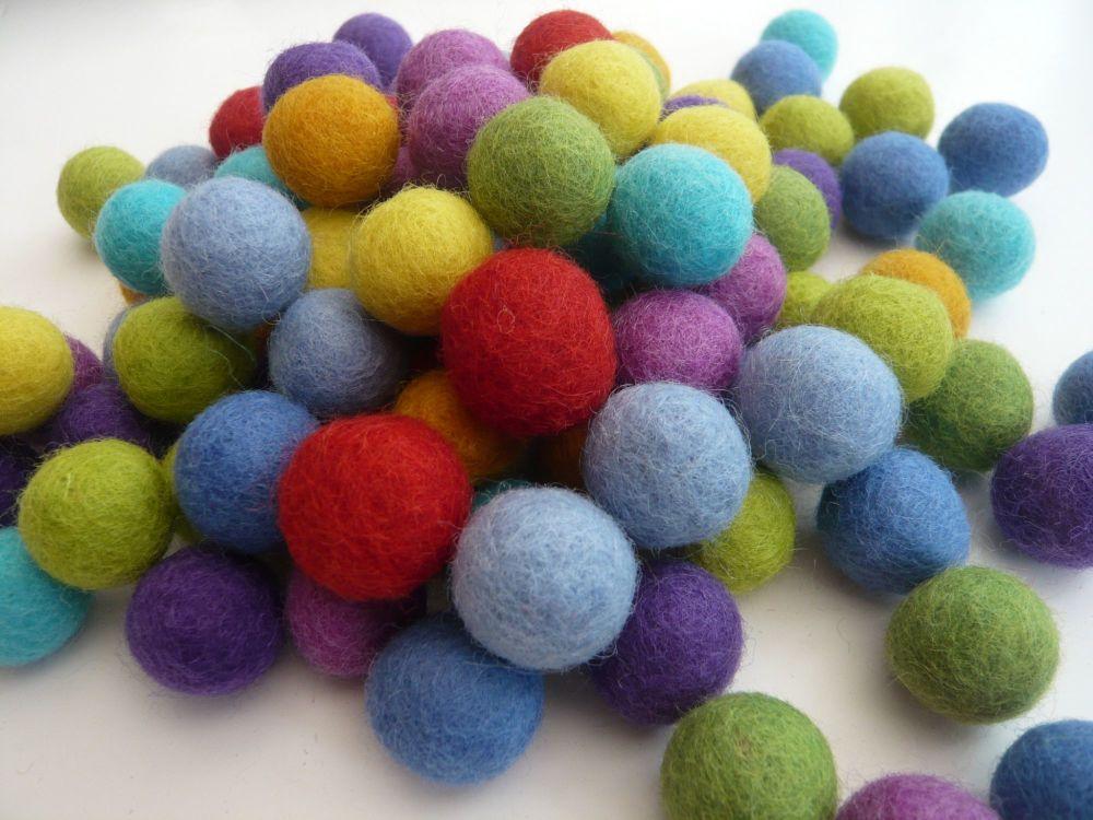 Handmade Felt Balls 2cm - Bright Colours