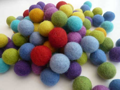 Handmade Felt Balls 2cm - Bright Colours