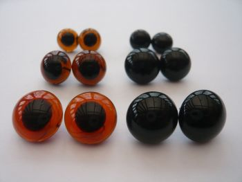 3 x Pairs of Glass Eyes 10mm, 12mm & 14mm (Looped back easy to sew)