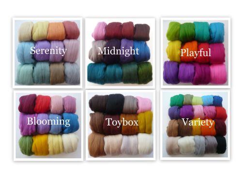 Merino Wool Tops 20 colours Felting Wools VARIETY PACK