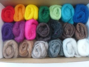 'Rainbow Cloud' + 'Menagerie' Mixes- 20 Carded Corriedale Wool Sliver