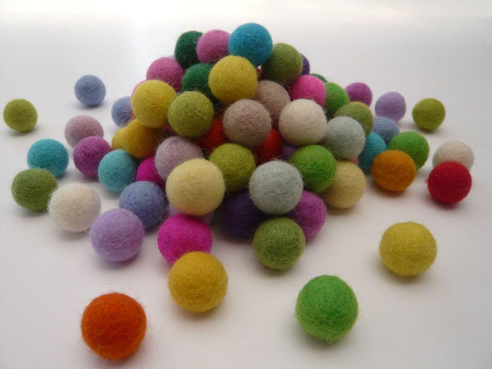 Handmade Felt Balls 2cm - Light and Bright Colours