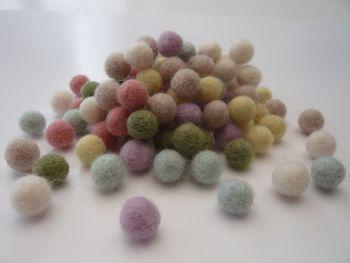 Handmade Felt Balls 2cm - Pastel Colours