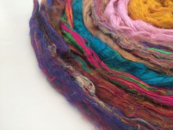 8 x Mix of Recycled Carded Sari Silk