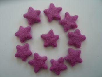 14 x Pink / Purple Handmade Felt Stars