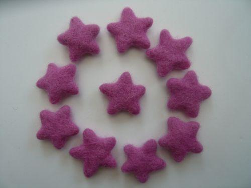 14 Pink / Purple Handmade Felt Stars