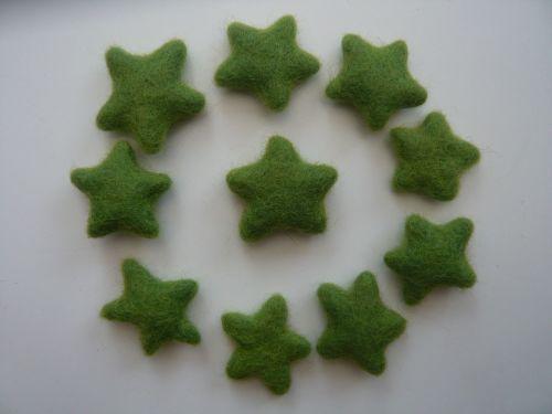 25 Green Handmade Felt Stars