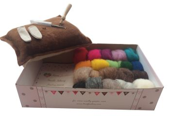 Eco Boxed Needle Felting Kit - With a Pure Wool Felting Mat + Carded Wool