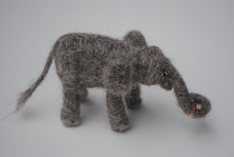 needle felted elephant