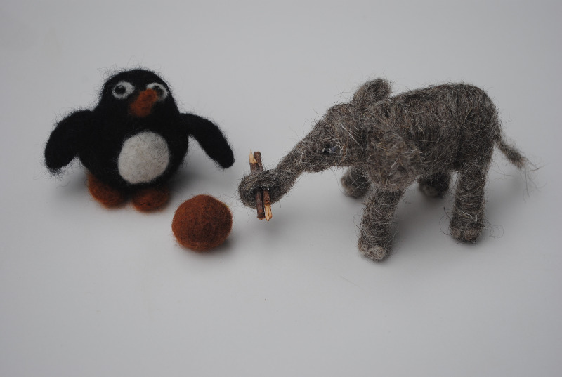 felted elephant and penguin