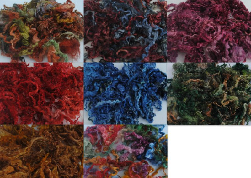 Dyed curly wool